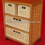 new designed wooden hospital cabinet with wicker baskets and wheels base-SLQ26013