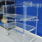 Clear Acrylic Hotel Trolley;Plexiglass Hotel Service Trolley;Perspex Restaurant Trolley;Clear Acrylic Serving Cart-FW567