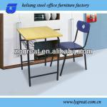 Top quality connected double school table and chair-school desk