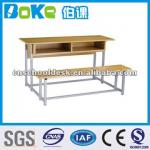 Double student desk and chair/class furniture-HA31