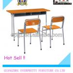prices for school furniture/ergonomic school chairs with table attached/Double study Table and chair set for sale-SF-01D