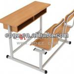 Strong wooden double desk with fixed chair-GT-52D