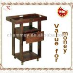 wood beauty tool cart with favourable price-B-65(brown-red)