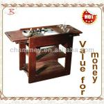 wooden massage cart for hot stone heater-B-64(coffee)