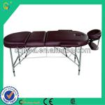 Soft Dark Brown PV Leather Aluminum Men's Shape-building Massager Table with 2 sections for sex sauna-BM-3725