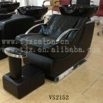 Black glass fiber shampoo chair with foot rest-VS2152