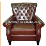 Vintage Leather Hotel Sofa with Armrest and Buttons-HM51016
