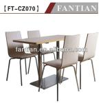 Modern style oblong wooden dining table and chairs with stainless steel legs 4 seats wooden restaurant table sets designs-FT-CZ070 Wooden dining table and chairs