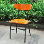 Modern wooden seat with metal frame Industrial Chairs-D156