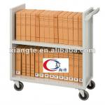 Flat shelf school library book trolley/ metal frame book cart/ library furniture-BC002
