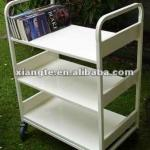 Modern design quiet steel book trolley / library furniture metal cart-BC007