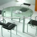 High quality round extendable glass dining table-DT023-2