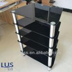 black glass tv stand 4 layer glass shelf in china-LUSFR-002A