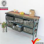 Used Vintage Industrial Style Wood And Metal Console