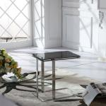 modern glass corner table with stianless steel frame