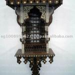 Antique Reproduction Handmade Inlaid Islamic Wall Double Shelf Console