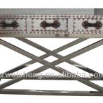 Vintage Industrial-style 3-Drawer Console Table With Stainless Steel Cross Frame