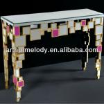 Folding console furniture with mirror and golden frame