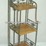 3-Tier Metal Book Shelf With Wood Top