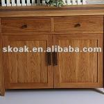 solid oak/walnut 2 door and 2 drawer sideboard