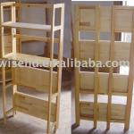 (W-BC-8017) 4 tier wood folding bookcase
