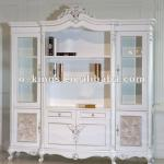 French style classic wood carved bookcase