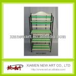 4 Layer green color wooden computer desk with bookshelf