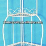 Cream Metal Triangle Foldable Corner Shelf with 4 tiers