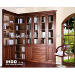 AB001 French style furniture bookcase oak bookcase with glass door