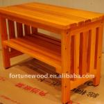 fir wood gang mounted bench