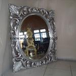 Classic Mirror Solid Mahogany Frame French Style Painted Wooden Accessories Antique Reproduction Vintage European Home Furniture