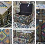wool jute kilim trunk/boxes