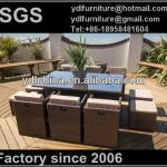 aluminum and PE rattan wicker dining table and chairs