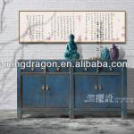 Chinese antique classic cheap solid wood blue bathroom cabinet