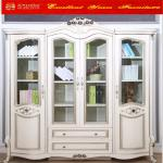 Classic White Color Study Room Furniture Glass Door Bookcase 069374
