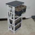 Custom Small Wooden Cabinet With Willow Drawer
