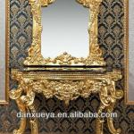 DXY-3B# luxury solid wood golden console table with mirror