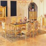 Italian Classic Dining Room Set- gold gilding furniture