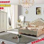 JHY911 romantic cream color Rose solid wood carved bedroom furniture set ,king size bed dresser still night stand wardrobe set