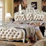 Luxury European Style Double Bed in Pearly Paint White Roses