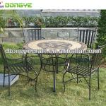 Round Marble Mosaic dining table and iron chair