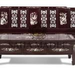 Sofa set, classic design 5 piece, Rosewood with mother of pearl inlaid
