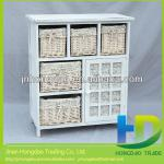 Wooden storage cabinet with wicker drawers,willow basket