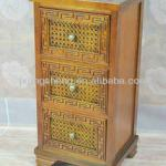 European style hardwood and natural rattan 3-drawer bedside cabinet table
