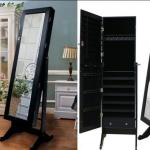 Hotel requisite Accessories cabinet with floor mirror stand