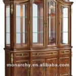 D3002-51-4 high quality solid wood hand carving display cabinet